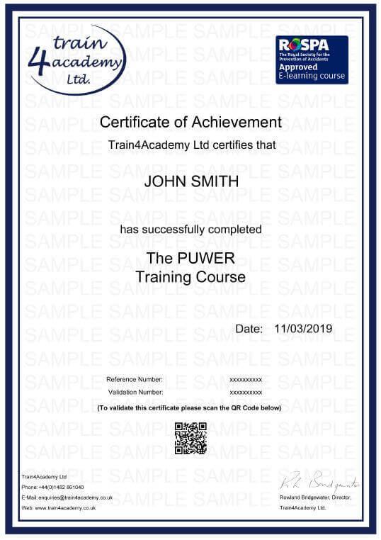 PUWER - Certificate Example