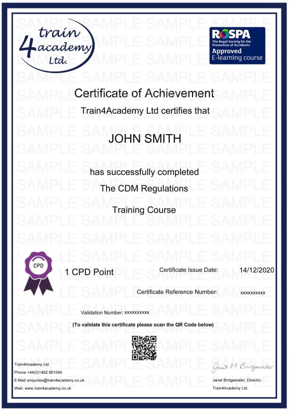 CDM Regulations Training - Certificate Example