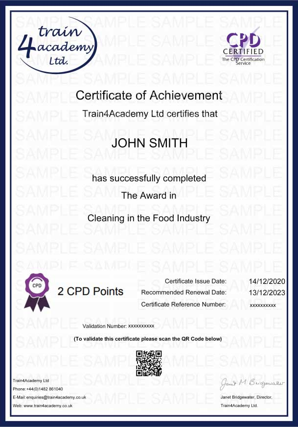 Cleaning in the Food Industry - Certificate Example