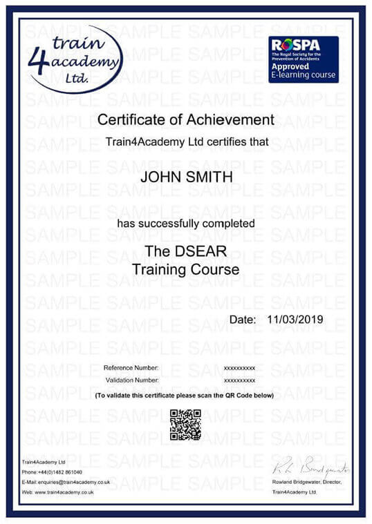 DSEAR - Certificate Example
