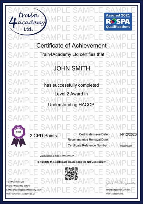 Understanding HACCP Training Level 2 - Certificate Example