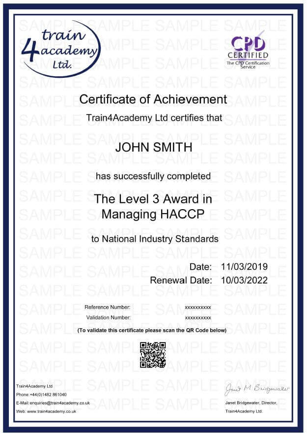 HACCP Level 3 - Certificate Example