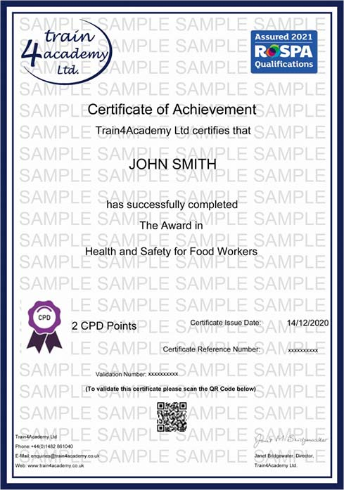 Health and Safety for Food Workers - Certificate Example