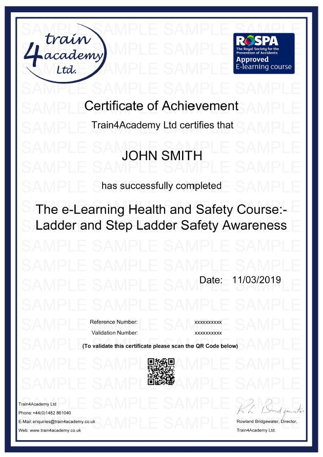 ladder Safety - Certificate Example