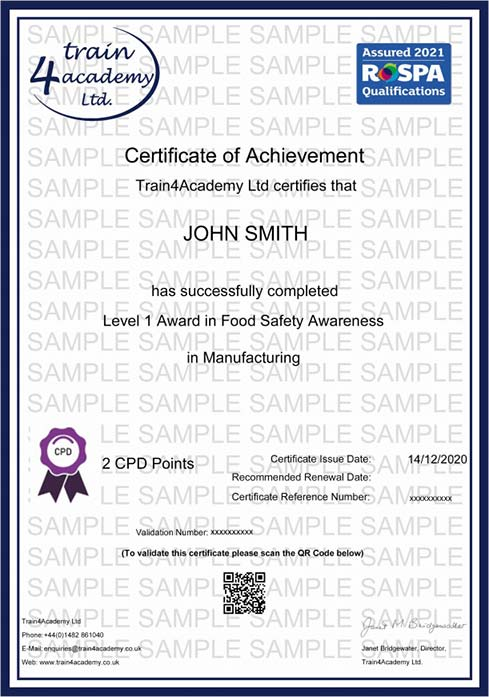 Level 1 Food Hygiene for Manufacturing - Certificate Example