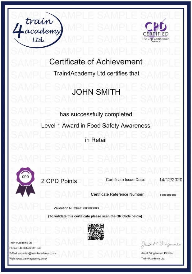 Level 1 Food Safety in Retail Training - Certificate Example