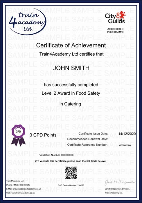 Level 2 Food Safety in Catering Training - Certificate Example