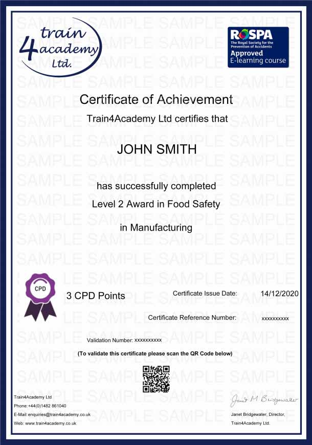 Food Safety Level 2 in Manufacturing Training - Certificate Example