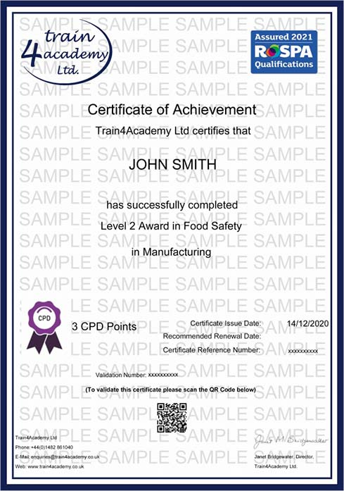 Level 2 Food Hygiene for Manufacturing - Certificate Example
