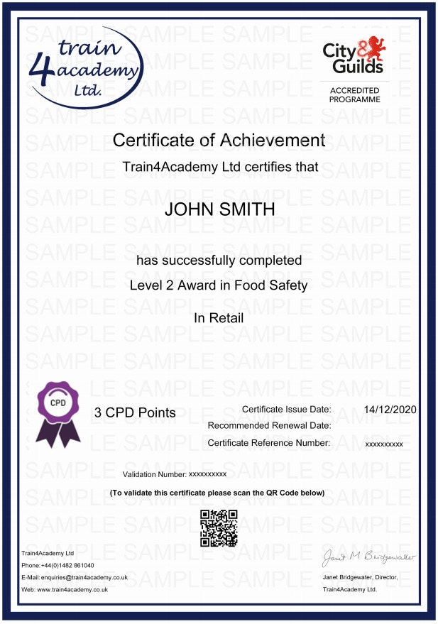 Level 2 Food Safety Retail Training - Certificate Example