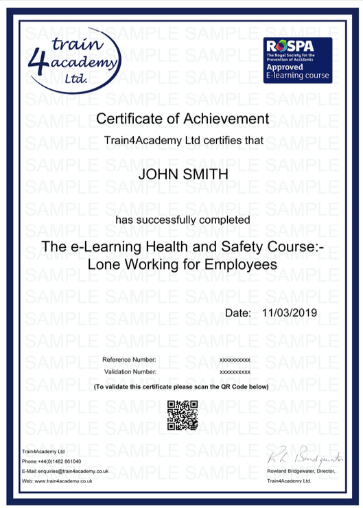 Lone Worker Training For Employees - Certificate Example