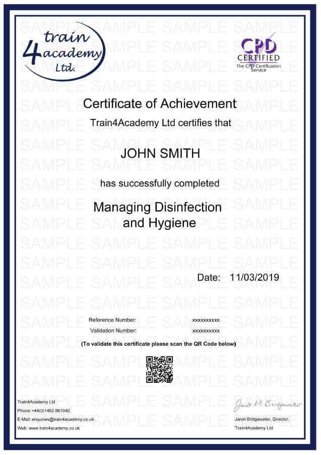 Managing Disinfection & Hygiene Certificate Example