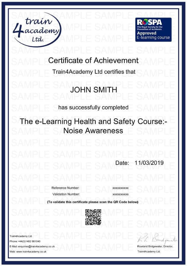 Noise Awareness Training Certificate
