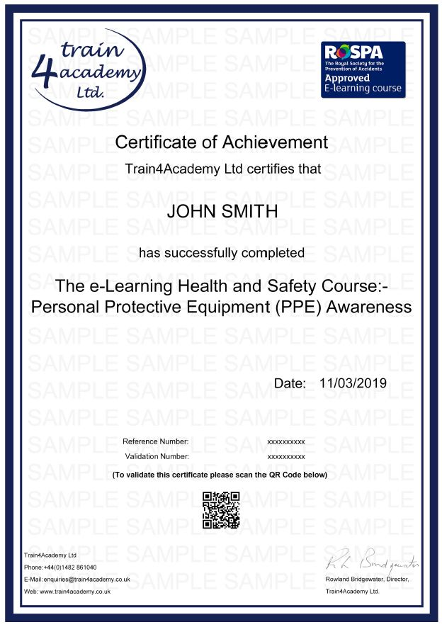 Personal Protective Equipment Certificate - Example