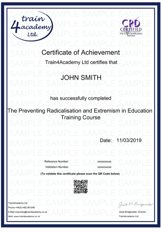 Prevent Radicalisation and Extremism Training in Education - Certificate Example