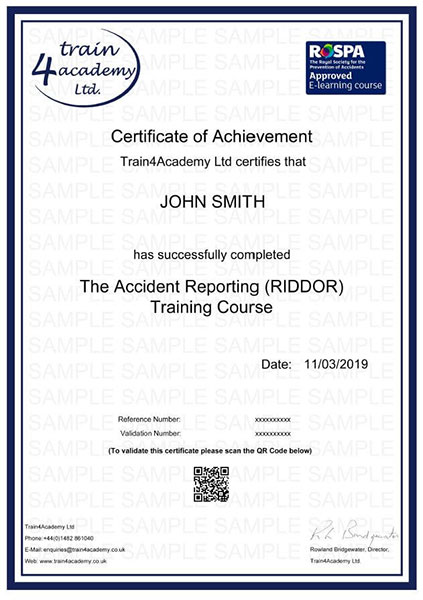 RIDDOR - Certificate Example