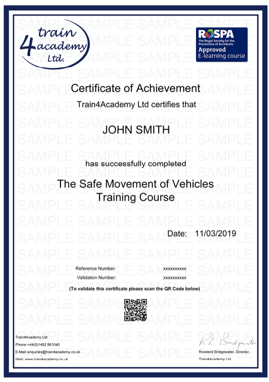 Safe Movement of Vehicles Training - Certificate Example