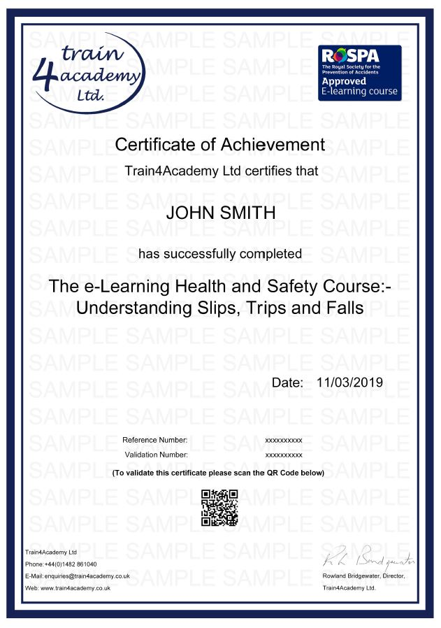 Slips, Trips and Falls Training (Understanding) - Certificate Example