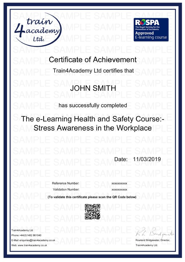 Stress Awareness in the Workplace - Example Certificate