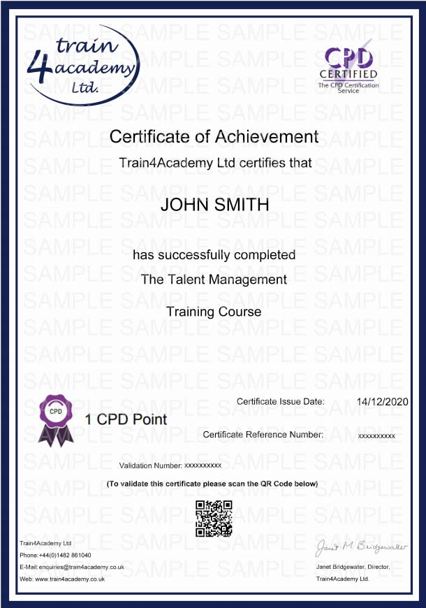 Talent Management Training - Certificate Example
