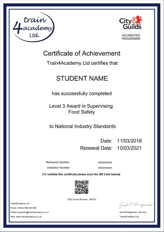 Level 3 Food Safety Course - Certificate Example
