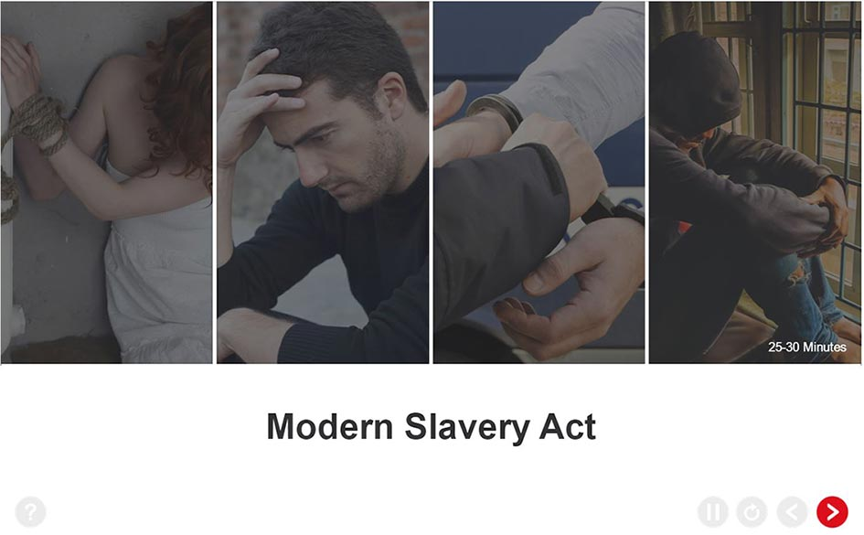 Modern Slavery Training - Welcome Screen