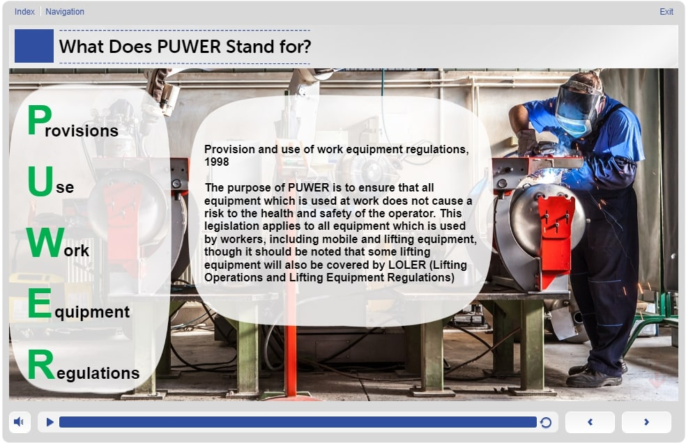 What is PUWER – Slide 2 – Level 1 - Training in PUWER